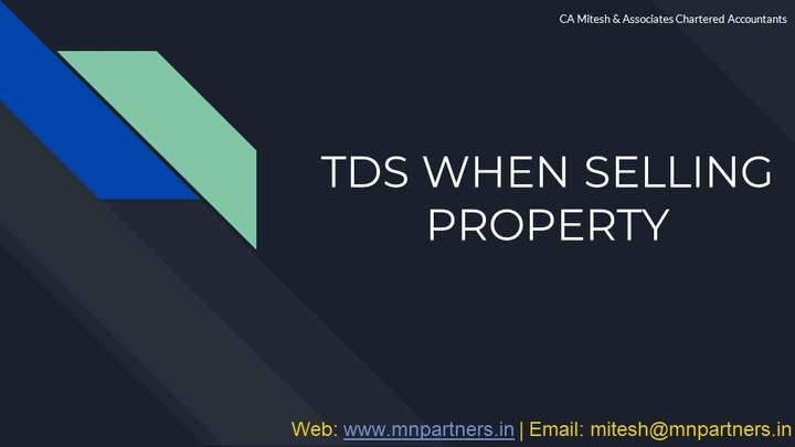 Tax Advisor view for TDS on Sale of Property