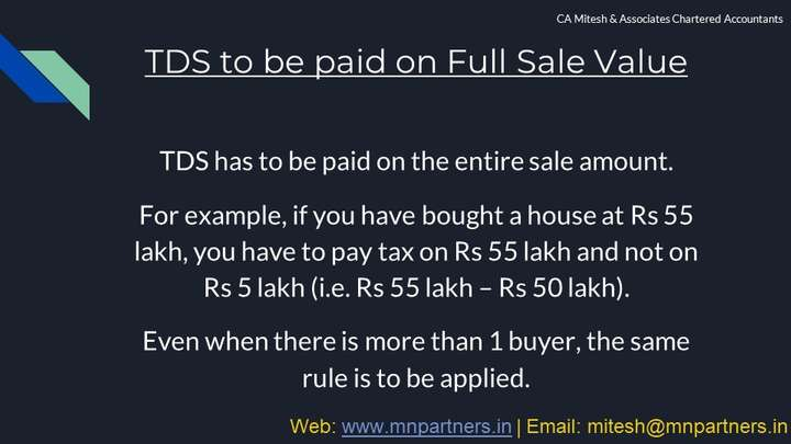 Mumbai Tax Advisor view for TDS on Sale of Property