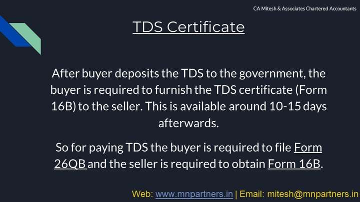 Tax Advisor view for TDS on Sale of Property in Mumbai