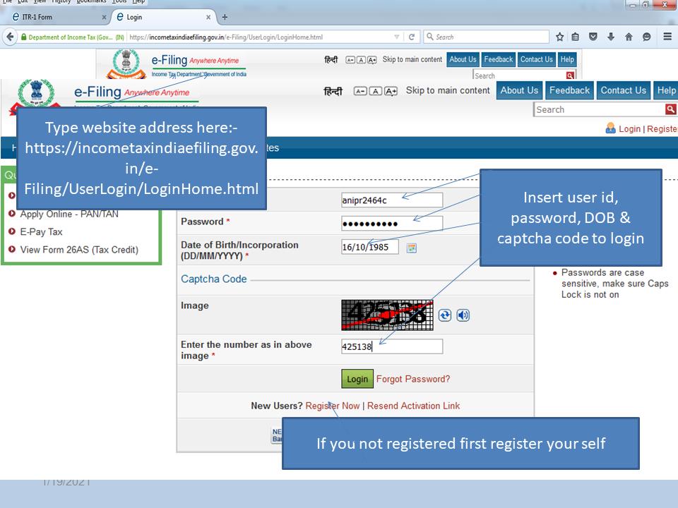 Income Tax e-filing website