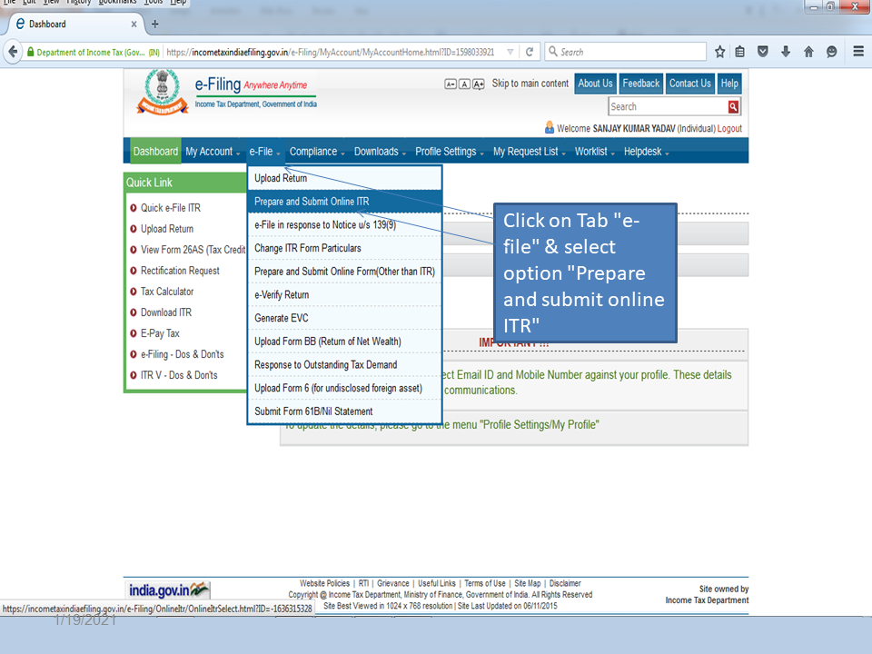 Select Prepare and submit online