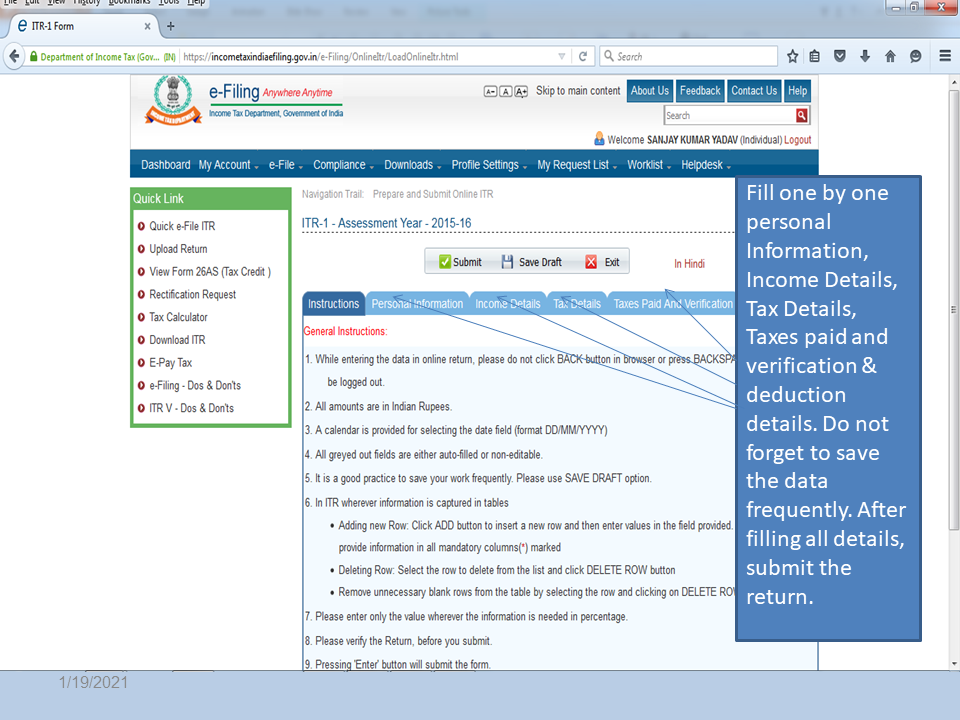 Fill Required Details | CA for Income Tax Filing